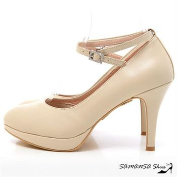 莎曼莎手工鞋【MIT全真皮】玩美腿型繞踝鑽扣帶三穿式微尖頭高跟鞋-#14601 裸膚色