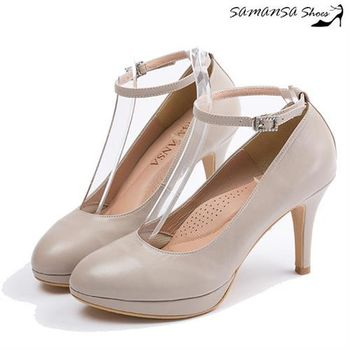 莎曼莎手工鞋【MIT全真皮】玩美腿型繞踝鑽扣帶三穿式微尖頭高跟鞋-14601 優雅米