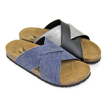【Pretty】寬版交叉真皮平底男拖鞋-藍色、黑色