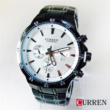 CURREN時尚三眼造型磚塊格紋黑鋼帶錶8063