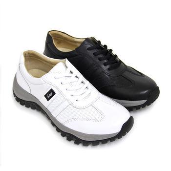 【GREEN PHOENIX】悠閒極簡素面綁帶全真皮厚底女休閒鞋-白色、黑色