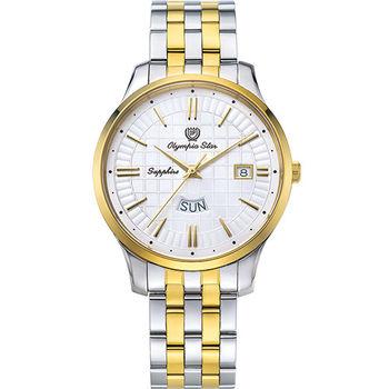 奧林比亞之星 Olympia Star- 別具一格都會時尚腕錶-金銀雙色 58057MSK