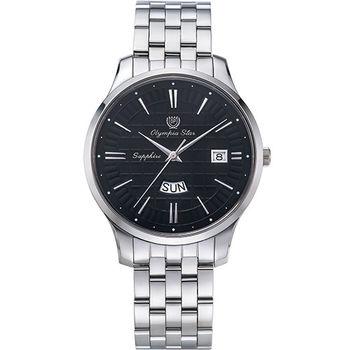 奧林比亞之星 Olympia Star- 別具一格都會時尚腕錶-黑58057MS
