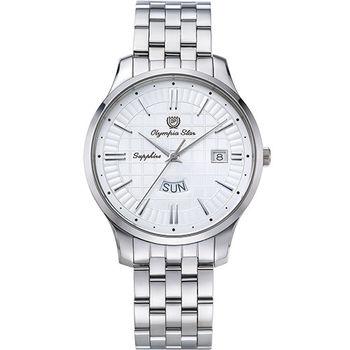 奧林比亞之星 Olympia Star- 別具一格都會時尚腕錶-白58057MS