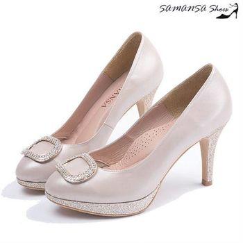 莎曼莎手工鞋【MIT全真皮】 鑽飾釦戴閃亮防水台高跟鞋-#14602 香檳金