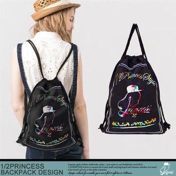 【1/2princess】品牌彩色碎花防潑水束口袋 後背包