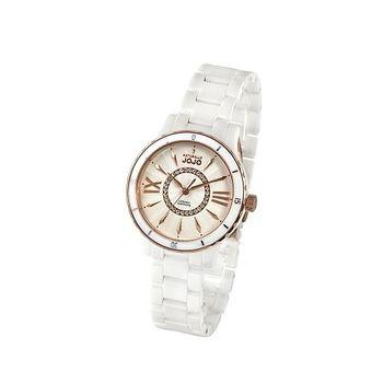 NATURALLY JOJO全陶瓷晶鑽腕錶-白x玫瑰金/38mm(JO96751-80R)