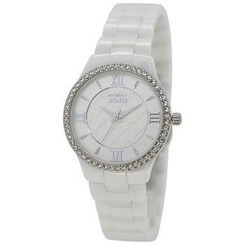 NATURALLY JOJO時尚羅馬陶瓷腕錶-銀(JO96819-80F)