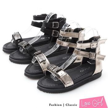☆Love Girl☆美式搖滾 一字造型扣飾內增高羅馬涼鞋