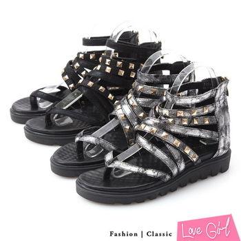 ☆Love Girl☆金屬感鉚釘搭扣夾腳內增高羅馬涼鞋