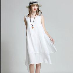 菟絲花大尺碼-時尚不規則下擺背心中長裙無袖雪紡連衣裙-現貨+預購