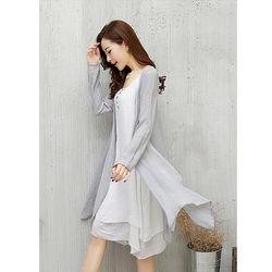 DearBaby純粹不規則輕透防曬罩衫+假兩層洋裝兩件組*預購