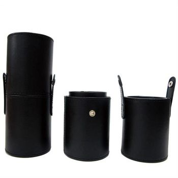 Galatea葛拉蒂短柄刷收納皮革圓筒(時尚黑)