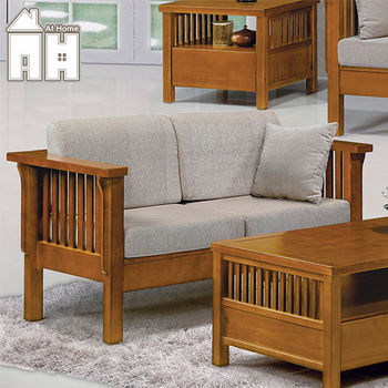 【AT HOME】魯娜柚木組椅-雙人座