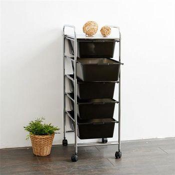 【ikloo宜酷屋】可移式五層黑色抽屜收納箱/收納盒