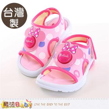 魔法Baby 兒童涼鞋 台灣製迪士尼米妮正版閃燈涼鞋~sh9812