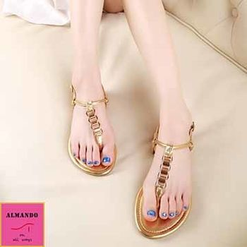 ALMANDO-SHOES ★金色歐美T行夾腳涼鞋★時尚金屬感涼鞋 羅馬涼鞋