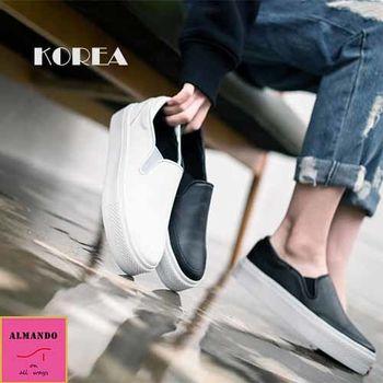 ALMANDO-SHOES ★正韓皮革素面簡約厚底平底休閒鞋★韓國空運 懶人鞋 包鞋
