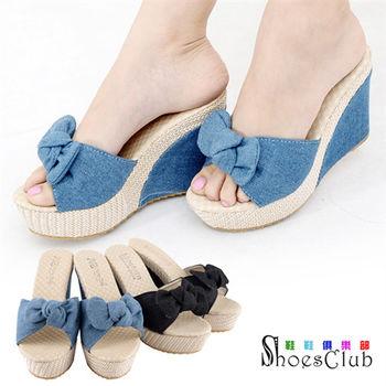 【ShoesClub】【052-A381】俏皮丹寧蝴蝶結厚底楔型拖鞋.2色 藍/黑