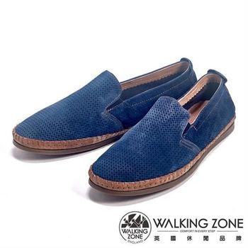 【WALKING ZONE】透氣小洞設計直套懶人休閒鞋男鞋-藍