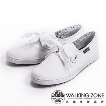 【WALKING ZONE】蝴蝶結綁帶平底純棉帆布休閒女鞋-白