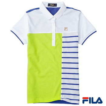 FILA女性色塊條紋POLO衫(純淨白)5POP-1719-WT