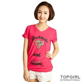 TOP-GIRL-高腳杯V領上衣-俏麗桃