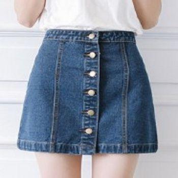 [協賀]高腰牛仔短裙