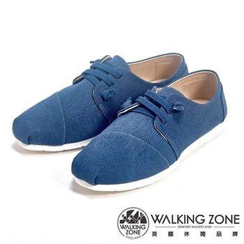 WALKING ZONE 簡約交叉繫帶平底休閒女鞋-深藍
