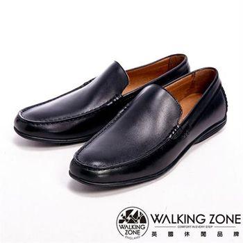 【WALKING ZONE】真皮氣墊感舒適直套休閒男皮鞋-黑