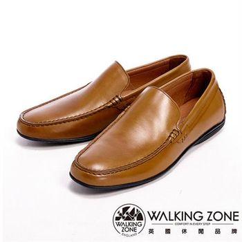 【WALKING ZONE】真皮氣墊感舒適直套休閒男皮鞋-棕