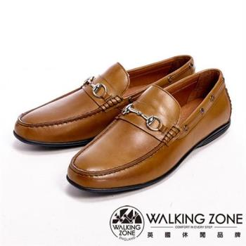 【WALKING ZONE】真皮氣墊感雅痞風休閒男皮鞋-棕