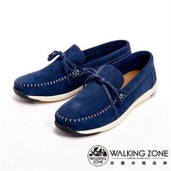 【WALKING ZONE】手工車線休閒男鞋-藍