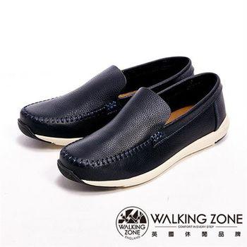 【WALKING ZONE】真皮手工車線直套型休閒男皮鞋-黑