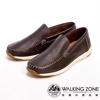 【WALKING ZONE】真皮手工車線直套型休閒男皮鞋-咖