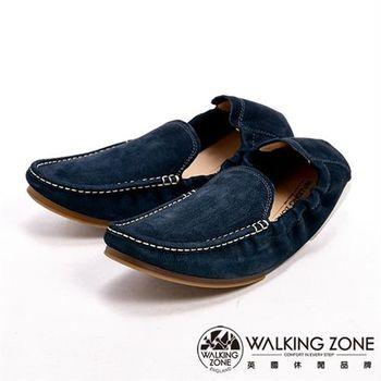 【WALKING ZONE】真皮手工車線軟Q休閒男皮鞋-藍