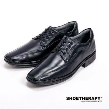 SAPATOTERAPIA 巴西有機橡膠大底尖頭綁帶皮鞋-黑