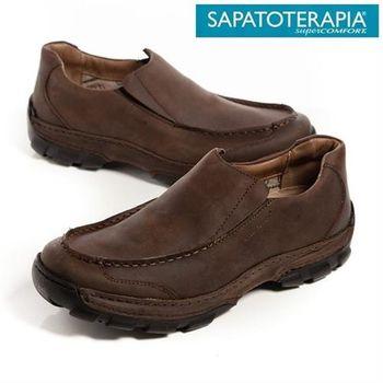 SAPATOTERAPIA 巴西舒適寬板直套有機休閒鞋-深咖