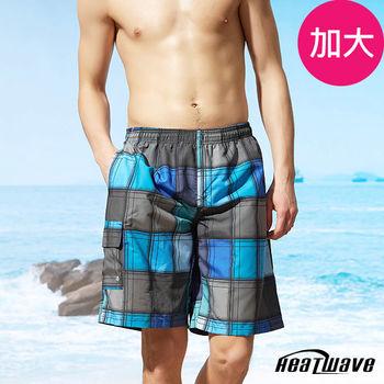 Heatwave熱浪 加大男海灘褲 藍灰格-A207
