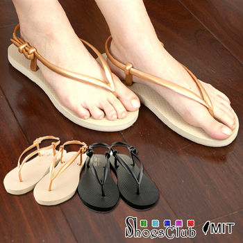 【ShoesClub】【023-9028】台灣製MIT 性感簡約防水平底夾腳涼鞋.2色 黑/金