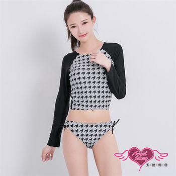 天使霓裳 泳衣 率性千鳥 兩件式長袖泳衣(黑白M~XL)