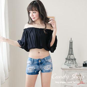 Candy小舖   可愛性感短腰棉麻上衣 - 黑色