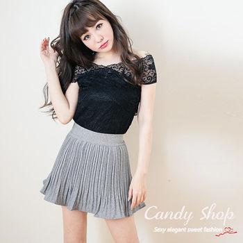 Candy小舖    氣質交叉領蕾絲上衣 - 黑色