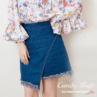 Candy小舖 素面剪裁 百搭牛仔短裙 ^#45 藍色