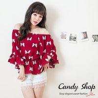 Candy小舖 甜美氣質蝴蝶結拉喇叭袖上衣 ^#45 紅色