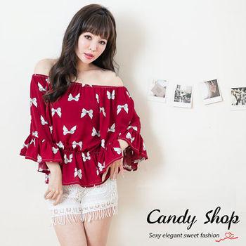 Candy小舖 甜美氣質蝴蝶結拉喇叭袖上衣 - 紅色
