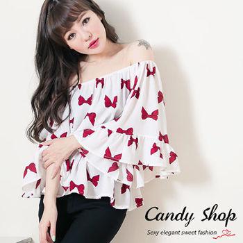 Candy小舖 甜美氣質蝴蝶結拉喇叭袖上衣 - 白色