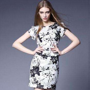 (現貨+預購 RN-girls)-歐美夏季新款氣質荷葉邊印花包臀連身裙