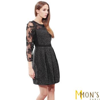 MON'S蕾絲造型透膚毛呢洋裝