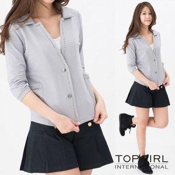 TOP GIRL 針織七分袖西裝外套-淺灰